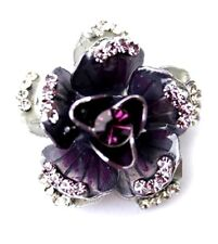 Enamel flower brooch pin sparkles with crystals - Purple