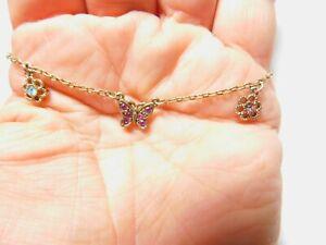 Blue Pink Lavender Rhinestone Butterfly Flower Gold Tone Metal Anklet Women