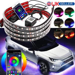 4x RGB LED Under Car Light Strip Underglow Body Neon Lamp Kit Phone App Control