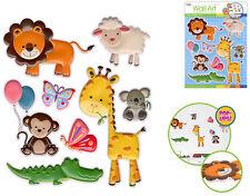ZOO BABIES 3D POP-UPS wall stickers 8 decals child room decor lamb monkey animal