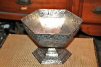 Antique Repousse Silver Metal Bowl Danish Designs Marked Bottom 6 Sides