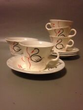 Barratts Staffordshire Swan lake 1950s modernist tea set x4 art deco mid century