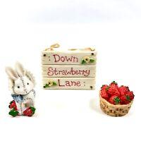 Cherished Teddies 1995 Down Strawberry Lane 3 Pieces Priscilla Hillman Vintage
