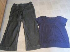 Baccini misses sz 12 darkwash trouser jeans & AbStudio purple top sz L lot z