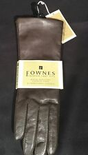 Women's Brown Leather Fownes Cashmere Lined Gloves NWT Size 7 Small
