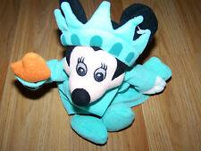"Disney Store Statue of Liberty Lady Minnie Mouse Bean Bag Plush Doll 9"" EUC"
