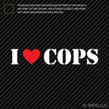 (2x) I Love Cops Sticker Die Cut Decal Self Adhesive Vinyl <3 police cop