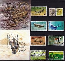 BL 82 TANZANIE OUGANDA 2 Blocs 9 T oblit, animaux terrestre et marins,costume
