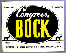 Haberle Congress Brewing Co CONGRESS BOCK beer label NY 12oz