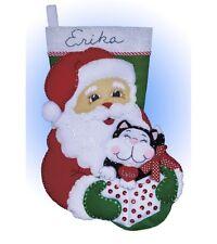 "Santa et chaton de Noël Holiday Stocking Felt Applique Kit 16"" Long"