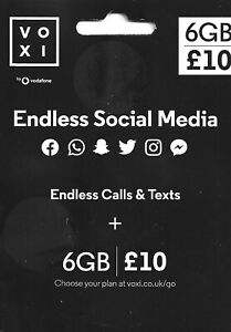 1× Voxi sim card.Pay As you Go. Endless social media.trio sim card.