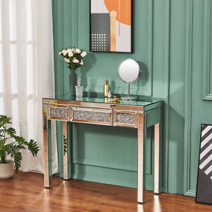 Mirrored Glass W/Drawer Diamond Dressing Table Console Make-up Desk Bedroom UK
