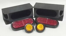 """2 steel trailer angled light boxes w/ red 6"""" oval & amber 2"""" Round LED lights"""