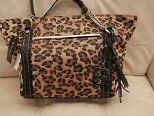 NEW WT ELLEN TRACY LEOPARD FUR PRINT PURSE TOTE CARMEN LEATHER BLACK BROWN