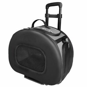 "LM Pet Life Wheeled Tough-Shell Black Collapsible Pet Carrier Medium - (17.8""L x"