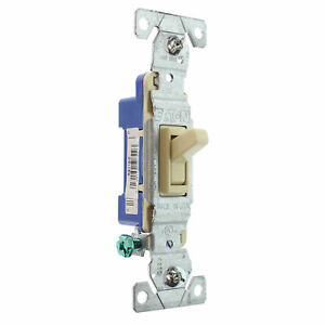 HUBBELL RS115IZ TOGGLE SWITCH, 1-POLE, GROUNDING, 15A, 120V, IVORY