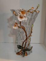 "European Pougine Crystal ""Orchid Love Vase"" Venetian Luxury Enamel Floral  Vase"