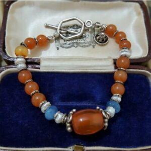 "Multi Gemstone Sterling Silver Bracelet, Agate, Chalcedony, Keshi Pearls, 7"""