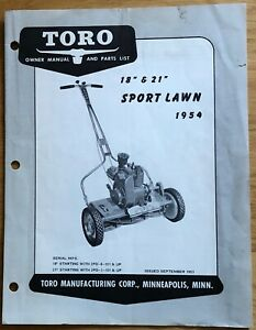 """Toro 1954 18"""" 21"""" Sport Lawn Mower Owner Manual & Parts List ~ Issued in 1953"""