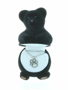 Black Bear Paw Print Crystal Necklace With Velour Hinged Gift Box