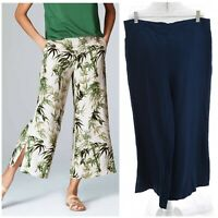 J Jill Sz M Navy Blue Wide Leg Linen Bld Slit Hem Pants Elastic Waist Womens