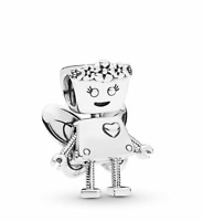 Genuine Sterling Silver Limited Ed Floral Bella Bot Robot Charm +Jewellery pouch