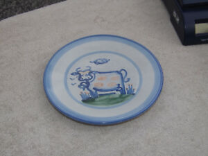 MA Hadley Pottery Hand Painted Cow Plate
