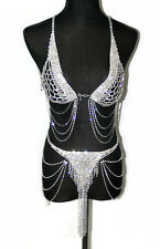 Stunning and sexy crystal rhinestone lingerie bra halter chain and Thong Set