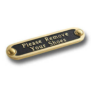 Please Remove Your Shoes Brass Door Sign. Traditional Style Home Décor Plaque