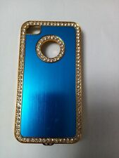 Blue & Gold metal back  case cover for Iphone 4.4s . brand new , High Quality