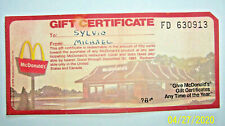Vintage 1978 McDonalds Gift Certificate Classic! Golden Arches Expired 1983