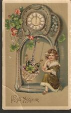 Germany New Year old gilded posted postcard child girl clock illustration 1900s