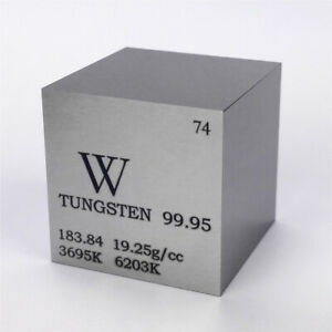 Tungsten Metal Density Cube 25.4mm 99.95% 315g for Element Collection