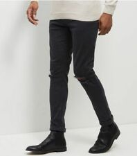 New Look Busted Knee Skinny Stretch Jeans 32R Black TD088 FF 12