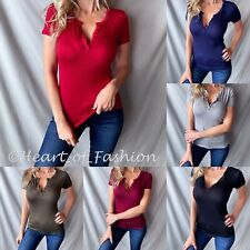Women's Low V-Neck Button Short Sleeve Rayon Blend Stretchy Henley Top Tee Shirt
