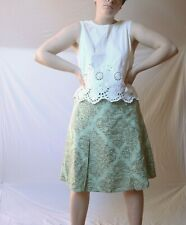 Women's Silk A-Line Green Skirt With Beautiful Paisley Pattern From 'Part Two'