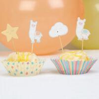 24 icing fairy cake toppers decorations edible llama lama unicorn llamacorn