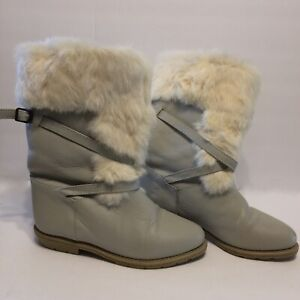 Blondo Boot Grayish Beige Leather Rabbit Trim Faux Shearling Size 6