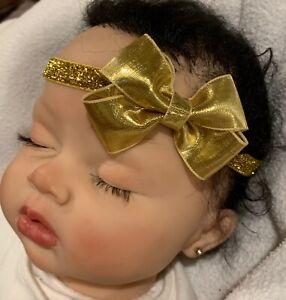 Gold Shiny Dainty Hair Bow Headband FITS Preemie Newborn Baby Toddler Easter