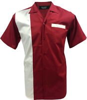 Rockabilly Fashions Rétro Vintage Bowling 1950 1960 Homme Polo Rouge Blanc S-3XL