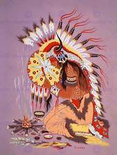 Painting native american indian shaman feu plume esprit art imprimé CC1274