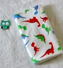 Handcrafted, Dinosaurs Flannel Print & White Minky Bubble Baby Burp Cloth