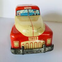 VINTAGE ANTIQUE WOLVERINE 1930'S TIN LITHO FRICTION TAXI CAB TOY CAR T903