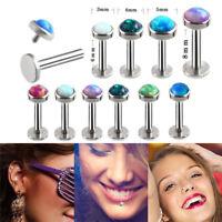 Opal Crystal Body Piercing Lip Nose Stud Labret Ring Bar Club Jewelry 6-8m RAC