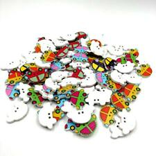 100pcs 2 Hole Mixed Car Cartoon Wooden Buttons for Sewing Scrapbooking Decor