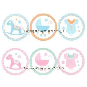 BABY BLUE BOY or PINK GIRL Shower Birthday Party Round Seal Sticker Envelopes