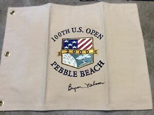 2000 canvas us open pin flag signed by byron nelson won Tiger Woods J Nicklaus