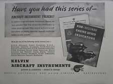 6/1946 PUB KELVIN AIRCRAFT INSTRUMENTS KBB KOLLSMAN ENGINE SPEED INDICATOR AD