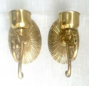 Pair of Solid Brass Single Candle Wall Sconces