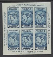 USA: 1934 New York Stamp Exhibition MS SG 734 £23, unused no gum as issued.